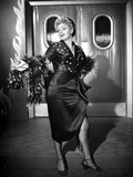 Shelley Winters Posed in Black Dress with Sarong Skirt and Fur Boa Photo by  Movie Star News