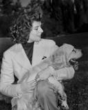 Katharine Hepburn wearing White Dress with Dog Photo by A Kahle