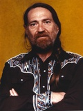 Willie Nelson in Black Shirt Portrait Photo by  Movie Star News
