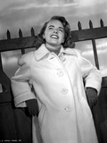 Terry Moore on a Coat Looking Up and smiling Photo by  Movie Star News