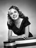 Terry Moore Leaning and smiling Portrait in Classic Photo by  Movie Star News