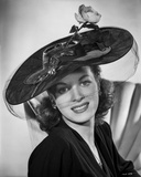Maureen O'Hara Posed in Black Dress With Hat Photo by E Bachrach