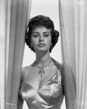 Sophia Loren wearing a Glossy Single Shoulder Dress in a Classic Portrait Photo by Bud Fraker