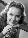 Terry Moore Seated and Leaning in Black and White Photo by  Movie Star News