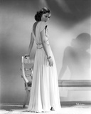 Barbara Stanwyck Showing Her Back in Long White Gown Photo by E Bachrach
