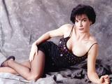 Terri Garber Lying in Black Spaghetti Dress Photo by  Movie Star News