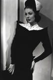 Loretta Young Royal Black and White Dress with Hat Photo by  Movie Star News