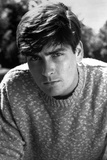 Charlie Sheen in Sweater Close Up Portrait Photo by  Movie Star News