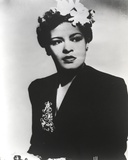 Billie Holiday Posed in Black Dress with Flower on Hair Portrait Photo by  Movie Star News