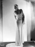 Jean Harlow Posed in White High Neck Long Sleeve Silk Dress with Long Pencil Skirt Photo by  Hurrell