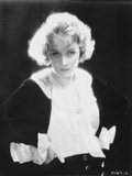 Marlene Dietrich Looking Serious in Black and White Dress with Black Background Photo by  Movie Star News