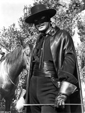 Guy Williams Riding Horse in Black Zorro Attire in Black Zorro Attire With Hat Photo by  Movie Star News