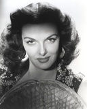 Jane Russell Close Up Portrait in Black Floral Dress with Straw Hat in White Background Photo by  Movie Star News