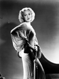 Jane Wyman Posed in White Strip Corduroy Bell Long Sleeve Silk Dress with Hands on the Waist Photo by  Movie Star News