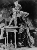 Marlene Dietrich Leaning on a Table wearing Glittery Blazer in Black and White Photo by  Movie Star News