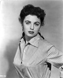 Faith Domergue Posed in Striped Shirt in Black and White Portrait Photo by  Movie Star News
