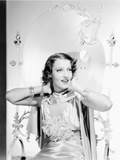 Jeanette MacDonald Portrait in White Deep V-Neck Strap Silk Dress and White Silk Scarf Photo by  Movie Star News