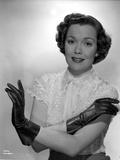 Jane Wyman Portrait in White Silk Lace Short Sleeve Bodice and Black Leather Gloves Photo by  Movie Star News