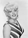 Jayne Mansfield Posed in Black Striped Sleeveless Dress and Dangling Earrings Photo by  Movie Star News
