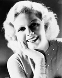 Jean Harlow Portrait in Grey Tight Long Sleeve Linen Dress with Head Leaning on the Right Hand Photo by  Movie Star News