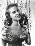 Janet Leigh Close Up in Classic Portrait in Grey Silk Drape Shoulder Dress Photo by  Movie Star News