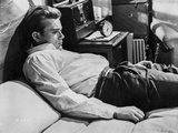 James Dean on the Bed in White Silk Collar Shirt and Black Pants with Arms Rest on the Side Photo by  Movie Star News