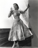 Jane Russell Posed in White Floral Silk Strap Dress Photo by  Movie Star News