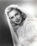 Janet Leigh Posed in White Silk Lace Wedding Dress with Sheer Silk Veil Photo by  Movie Star News