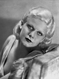 Jean Harlow sitting on the Couch in White V-Neck Linen Tweed Dress Photo by CS Bull