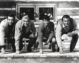 Bonanza Fist Leaning on Floor Pose in Black and White Group Portrait Photo by  Movie Star News