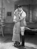 Jean Harlow Couple Shot Scene from a Film in Deep V-Neck Gathered Bodice Linen Dress Photo by CS Bull