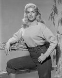 Jayne Mansfield Posed in White Tweed Long Sleeve Round Neck Shirt and High Waist Black Pants Photo by Bert Six