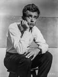 James Dean Seated on a Chair in White Long Sleeve Collar Shirt and Black Linen Pants Photo by  Movie Star News