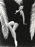Paulette Goddard Sexy Pose in Black Bikini Portrait with Black Background Photo by  Movie Star News