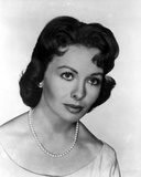 Jeanne Crain Portrait in White Dress and Pearl Necklace and Pearl Earrings Photo by  Movie Star News