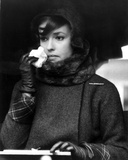 Jeanne Moreau Portrait in Black Linen Long Sleeve Folded Top Twee Coat and Black Scarf Photo by  Movie Star News