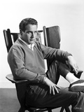 Paul Newman Siting on Chair in Formal Outfit Black and White Photo by F Powolny