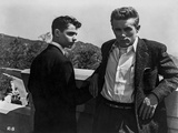 James Dean Posed in Black Sequin Suit and White Collar Shirt with Elbows Bent Back Photo by Floyd Mccarty