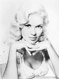 Jayne Mansfield Portrait in White Floral Silk Dress with Chin Leaning on the Hands Photo by  Movie Star News