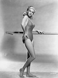 Jayne Mansfield Posed in One Piece Swimsuit and Black Headband with Right Hand on the Waist Photo by Bert Six
