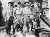 Marx Brothers standing with Construction Outfit with a Soldier- Photograph Print Photo by  Movie Star News