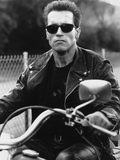 Arnold Schwarzenegger Riding a Bike in Black Leather Jacket Photo by  Movie Star News