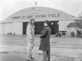 Spirit Of Saint Louis Two Men Talking in Flying Field Scene Excerpt from Film in Black and White Photo by  Movie Star News
