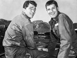 Dean Martin and Jerry Lewis Scene with Two Men Carrying Something Heavy in Black and White Photo by  Movie Star News