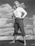 Jayne Mansfield Posed in White Round Neck Long Sleeve Tweed Shirt Photo by Bert Six