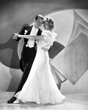Fred Astaire and Ginger Rogers Ballroom Dancing on Stage in White Dress and Black Suit Photo by  Movie Star News