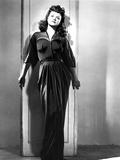 Jean Simmons Posed in Black Sheer Long Sleeve V-Neck Gathered Silk Dress Foto af  Movie Star News
