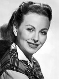 Jeanne Crain Portrait in Black Tartan Shirt with White Long Sleeves and Collar Photo by  Movie Star News