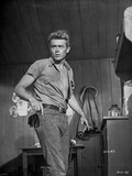 James Dean Posed in Grey Tucked-On Short Sleeve Shirt and Belted Pants with Head Turn to the Right Photo by Floyd Mccarty