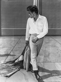 James Dean Posed in White Tucked-On Long Sleeve Shirt and Tight Pants with Black Leather Shoes Foto av  Movie Star News